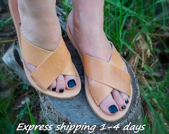 49175a31594318 BETTY sandals  ancient Greek leather sandals  slide sandals  classic  leather sandals  handmade sandals  criss cross