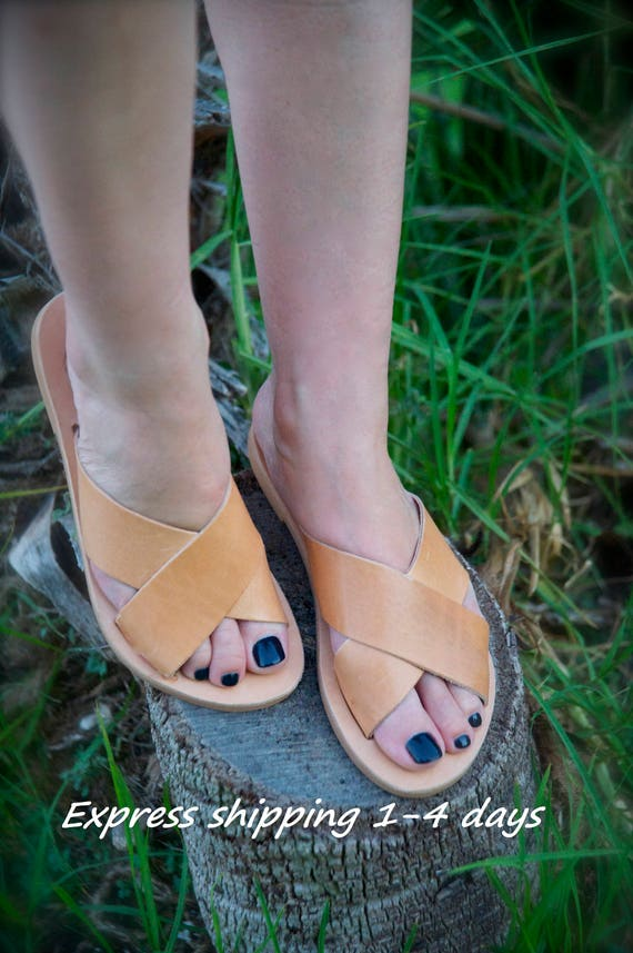 168e9ab1afd6 BETTY sandals  ancient Greek leather sandals  slide sandals  classic  leather sandals  handmade sandals  criss cross