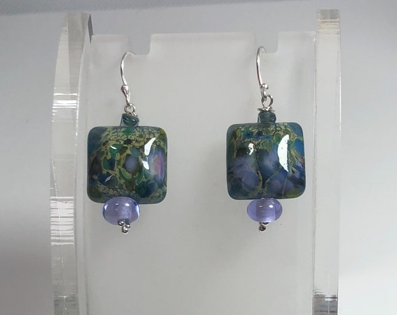 Lampwork Glass Bead Earrings, Puffy Square, Pierced Dangle, Lavender,Sterling Silver French Hooks,Gifts for Her,Free Shipping,One of Kind