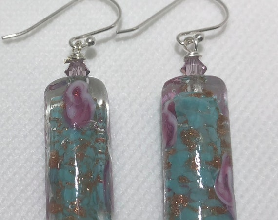 Murano Glass Beaded Fiorato Dangle Pierced Earrings Blue Pink Roses Swarovski Crystal OOAK Women Teens Teachers Gift Sterling Silver
