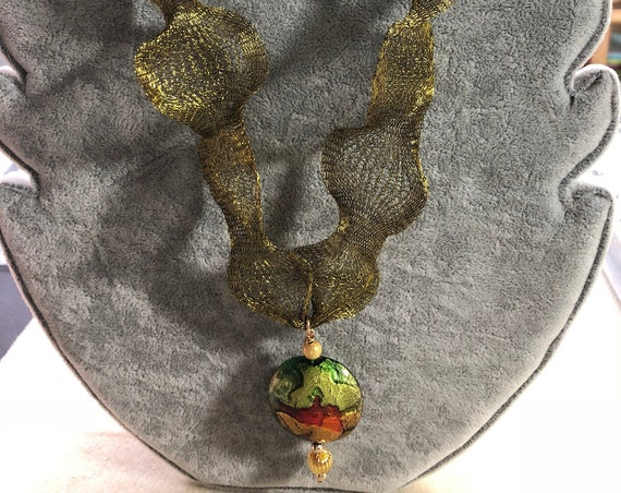 Murano Glass Pendant, Greens, Golds, Topaz Reddish Orange, Olive Titanium Mesh Necklace, Reshape, OOAK,Classic Venetian,Gold FilledVersatile