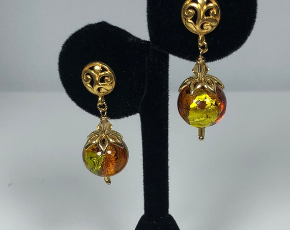 Murano Glass Bead Earrings, Gold Filled Scroll Designs, Posts, Abstract, Green, Topaz, Gift for Her, Free Shipping, One of A Kind, Peridot