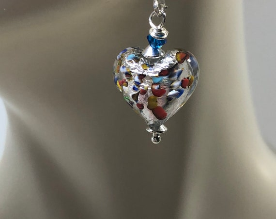 Murano Glass Heart Earrings, Klimt Style, Dangle Earrings, Pierced Earrings,Leverbacks Czech Crystal, Unique, Gifts for Teen, Free Ship