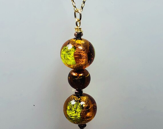 Murano Glass Pendant Necklace, Peridot, Topaz, Gold Filled, One of a Kind, Geometric, Abstract,Gifts for Her, Free Shipping,Versatile,Unique