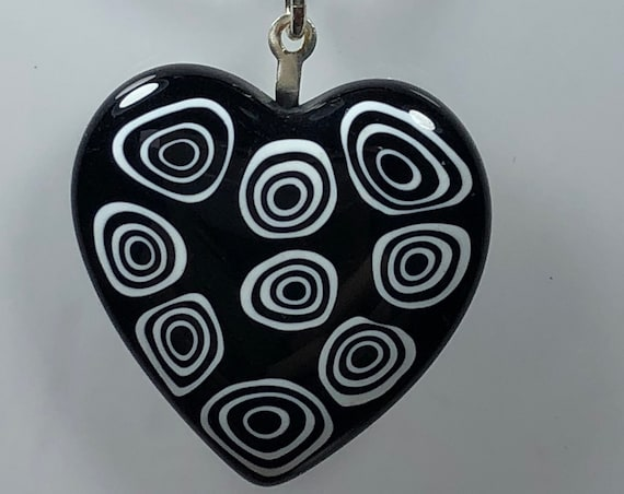 Murano Glass Heart Pendant, Authentic Murano, Necklace, Leather Cord, Millefiore Heart, Gifts For Her, Free Shipping, Unique