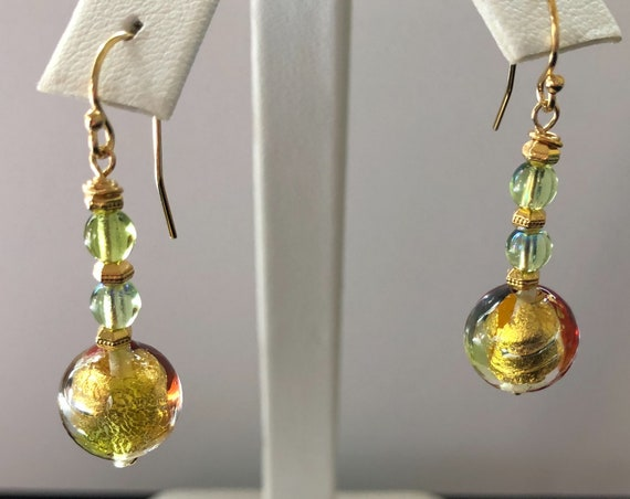 Murano Glass Bead Dangle Pierced Earrings Green Topaz Gold Filled