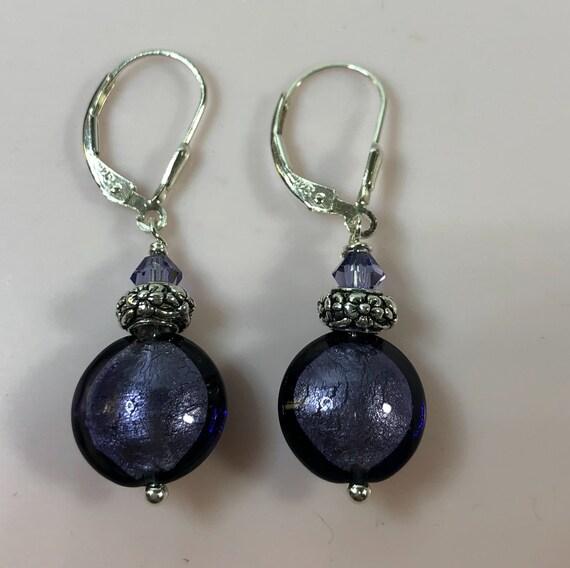 Murano Glass Bead Earrings, Plum, Purple, Sterling Leverbacks,One of a Kind, Gifts For Her, Dangle Earrings, Pierced Earrings,Swarovski