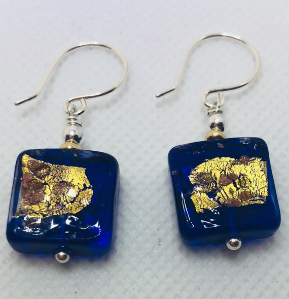 Murano Glass Beads, Pierced Earrings,Cobalt, Silver, Gold, Square, Sterling, One of a Kindd, Free Shipping, Gifts for Her, Teens, Bohemian,