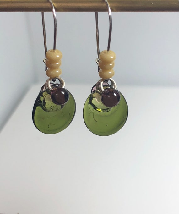 Lampwork Glass Bead Earrings, Creme, Olive Green, Purple,Kidney Style Hooks, Bo Ho, Sterling Silver, Gifts for Her, Free Ship, One of a Kind