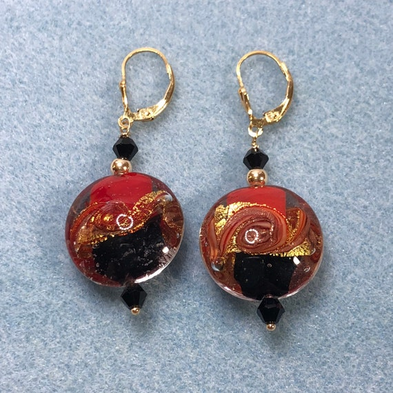 Murano Glass Earrings, Leverbacks, Goldfilled, Dangle Earrings,Pierced Earrings, Red, Gold, Black, Festive, Gifts for Her, One of a Kind,