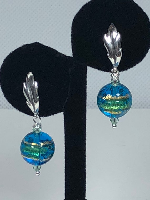 Authentic Murano Glass Earrings, Pierced, Dangle,Sterling Sliver Post, Blue,Green, Gold, Free Shipping, Gifts For Her, Unique Earrings