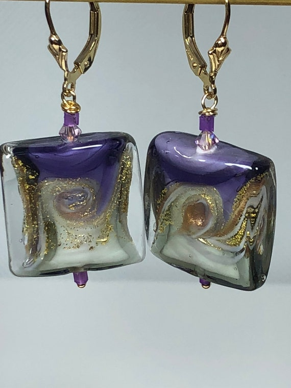 Murano Glass Bead Earrings, Puffy Square, Pierced Dangle Earrings,Leverbacks, Free Shipping, Gifts for Her, One of a Kind, Purple,Plum