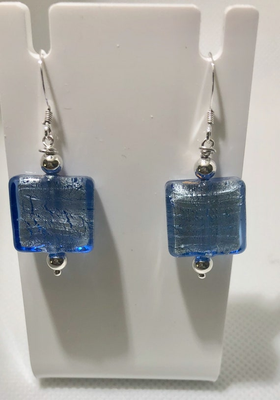 Murano Glass Bead Earrings Square Earrings Dangle Pierced Blue Sterling Silver Women Earrings Teacher Teen Free Shipping Sterling Silver