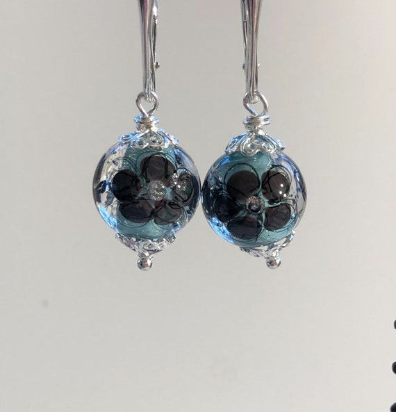Lampwork Glass Bead Earrings, Pierced Earrings, Round, Lever Back, Sterling Silver, Flower, Blue, One of a Kind, Gifts for Her, Unique,