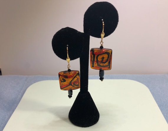 Murano Glass Beaded Earrings, Topaz, Black, Red, Modern Picasso Feel, Gold filled Leverbacks, Square,Dangle, Pierced , Gifts for Her, Unique