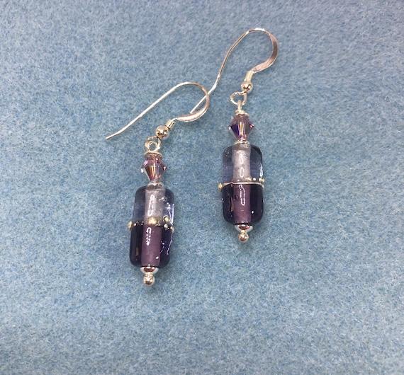Glass Bead Earrings,  Lampwork Earrings, Dangle, Pierced, Purple, Lavendar,Swarovski, French Hook Earwire, Holiday Gift, Gift for Her