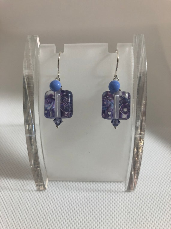 Lampwork Glass Bead Earrings Square Lavender Purple Swarovski Sterling Silver Pierced Dangle Women Teen Teacher Free Shipping