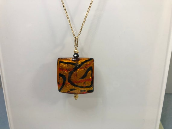 """Murano Glass Bead Pendant Necklace, Square, Topaz, Black, Red, Goldfilled Rolo Chain 20"""",Murano Pendant. Gifts for Her, One of a Kind,"""