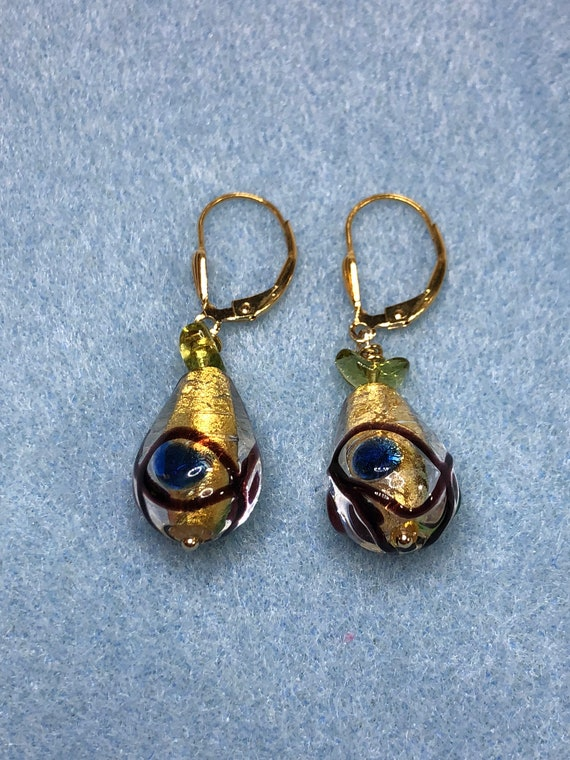 Murano Glass Teardrop Earrings, Pierced, Dangled, Leverbacks,Goldfilled, Multicolored, Gifts for Her, Free Shipping, One of a Kind,