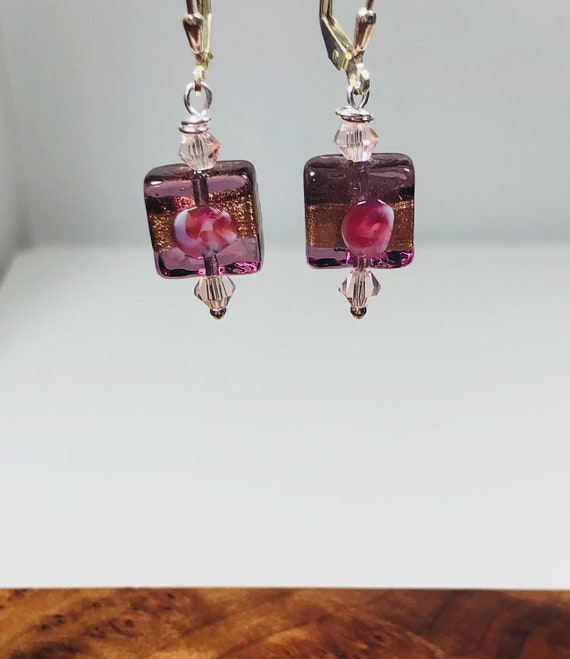 Murano Glass Bead Earrings,  Fiorato Square, Flowers, Sterling Silver Leverbacks, Gifts For Her, Free Shipping,Pinks,
