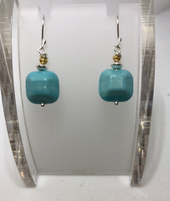Authentic Murano Glass Earrings, Pierced, Dangle Earrings, Turquoise, Gifts for Her, Earrings,Drop, Free Shipping, Sterling Silver