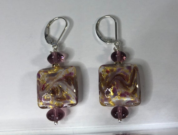 Murano Glass Earrings, Square, Lavender  Pink, Gold,Aventurina Marbled Square, Leverback, Ster.Silver,Earrings For Her,One of a Kind,  Plum
