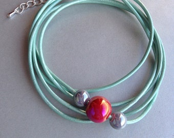 Mint Green Leather Multi Strand Bracelet Made with Round Red and Grey Ceramic Beads - Leather Bracelet - Wrap Bracelet - Ceramic Beads