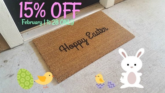 ON SALE Ready to Ship Holiday Welcome Mat Hoppy Easter