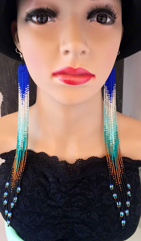Extra Long Glass Seed Bead Earrings Royal Blue Silver Aquamarine Bronze Black Native American Beaded Ombr\u00e9 Jewelry Boho Navajo Huichol Gift