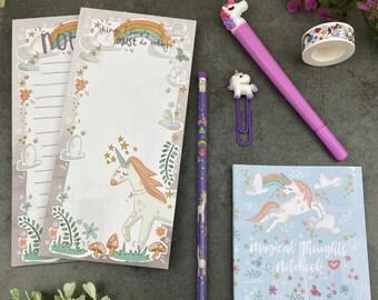 Unicorn Stationery Set, Unicorn Gift, Gift For Unicorn Lover, Unicorn Stationery, Unicorn Pen, Unicorn Pencil, Unicorn Notebook, Stationery