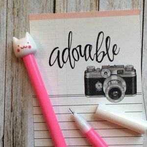 Cat Gel Pen Cheeky Cat Gel Pens Cartoon Cat Gel Pen Bright Pink