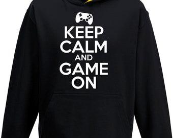 Gaming Hoody Boys Girls Kids Childs Keep Calm And Game On Contrast Hoody Hoodie Hooded Sweatshirt YouTube Computer Gaming Top