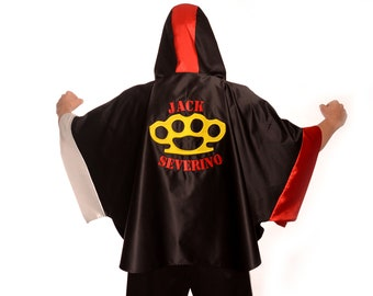 9736db10f247 Custom boxing robe  Poncho style  Boxing equipment with custom embroidery