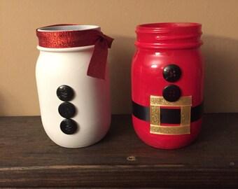 Santa Mason Jars / Christmas Decor / Christmas mason jars