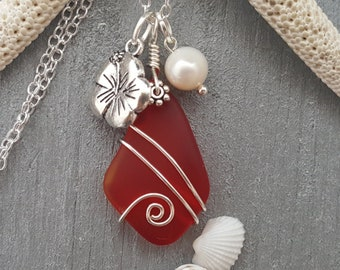 Rare Ideal pendantcharmcrafts Genuine red sea glassbeach glass Top drilled with hand carved heart design