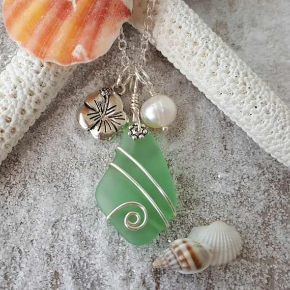 Handmade jewelry from Hawaii peridot green sea glass earrings,August Birthstone freshwater pearl, Hawaii Gift Wrapped, Customizable Gift Message
