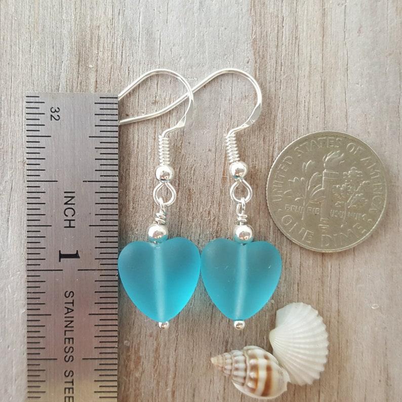 Sea glass jewelry. Gift box Handmade in Hawaii 925 sterling silver hook Twin Hearts sea glass earrings Sea glass earrings