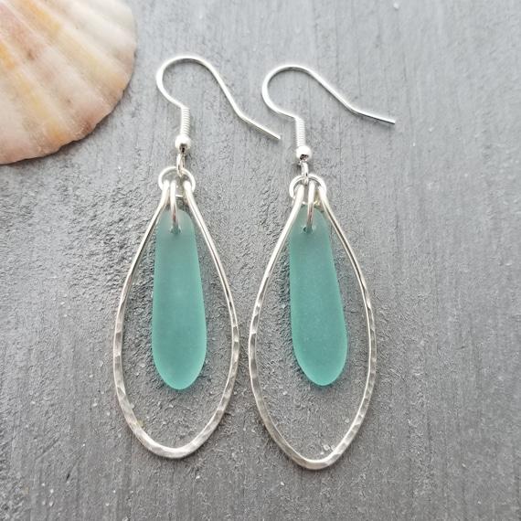 Handmade in Hawaii Wire braided CobaltSapphire sea glass earrings Sterling silver hooks September Birthstone Mother/'s Day