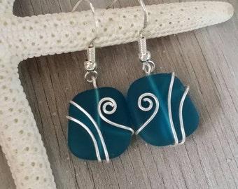 Handmade in Hawaii, Wire wrapped teal blue sea glass earrings, 925 sterling silver hook, gift box.beach jewelry