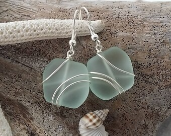 Handmade in Hawaii, Wire wrapped Seafoam sea glass earrings, Sterling silver hook, gift box.Sea glass jewelry gift.