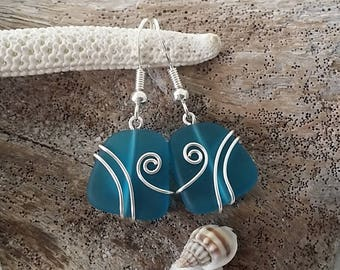 Made in Hawaii, Wire wrapped teal blue sea glass earrings, Sterling silver hook, gift box. Beach glass  jewelry gift.