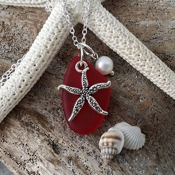 Handmade in Hawaii Hawaii Gift Wrapped, Customizable Gift Message Red Heart sea glass necklace,January Birthstone,Valentines Day Gift,