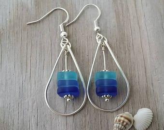 Made in Hawaii, Wire loop triple blue sea glass earrings, 925 sterling silver hook, gift box.beach jewelry