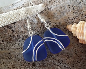 Handmade in Hawaii, Wire wrapped cobalt blue sea glass earrings, Sterling silver hook, gift box.beach jewelry,Gift for her.