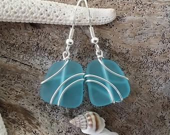Made in Hawaii, Wire wrapped blue sea glass earrings, Sterling silver hook, Sea glass beach jewelry
