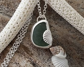 Handmade in Hawaii, Genuine sea glass with 999 fine silver bezel, sterling silver chain and shell charm, pre-shattered unique design