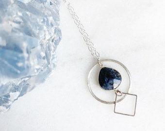 Soul of the World - Gemstone Geometric Necklace in Sapphire, Emerald, Moonstone, Onyx, Garnet, Lapis
