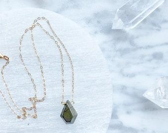 Pyrite Geometeic Diamond Necklace on Hypoallergenic Goldfill chain