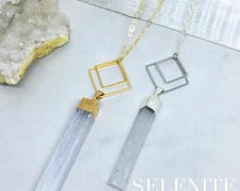 Chosen - Geometric Gemstone Necklace in Malachite, Apatite, Tourmaline, Selenite, Crystal, Citrine, Amethyst, Labradorite, Smokey Quartz