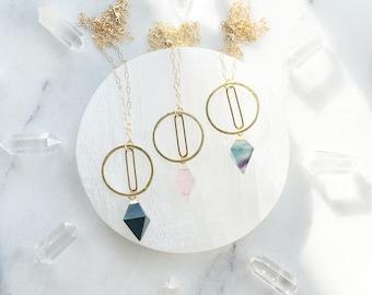 The Path - Geometric Onyx, Rose Quartz and Fluorite transforming necklace